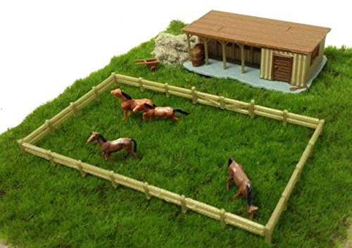 Outland Models Train Railway Layout Farm Stable with Horses & Grass HO OO (Farm Model)