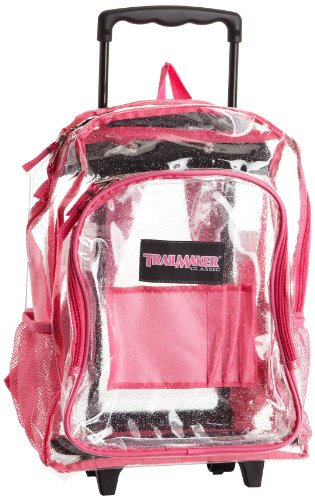 Amazon.com: Trailmaker Big Girls' Rolling Glitter Backpack, Clear ...