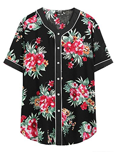 COOFANDY Men's Short Sleeve Hipster Hip Hop Button Down Baseball Jersey Shirt, Black, Large