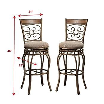 "Poundex Y1437 Bobkona Prisca 29"" Seat Height Swivel Bar Stool (Set of 2), Tan"