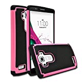 LG G4 Case, MagicMobile [Dual Armor Series] Hybrid Impact Resistant LG G4 Shockproof Tough Case Hard Rugged Plastic with Rubber Silicone Skin Protective Case for LG G4 - Black / Hot Pink