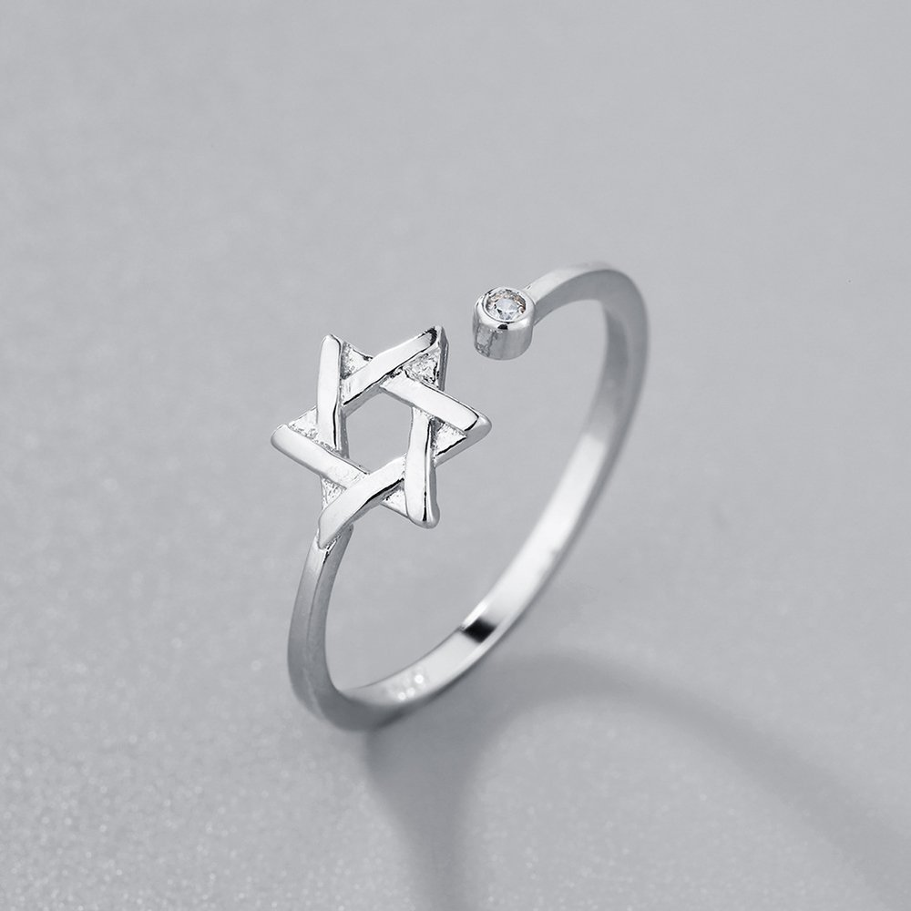 Six-point Star Zircon Adjustable Wedding Party Expendable Rings Girl Women Silver