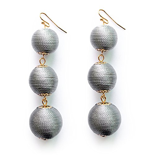 Grey Dangle Ball Earrings Handmade Thread Ball Soriee Drop Earrings Elegant Jewelry Gifts for Women (Ball Drop Dangle)