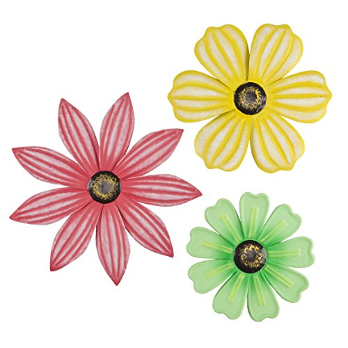 Metal Flower Plaques, Set of 3 by Maple Lane CreationsTM