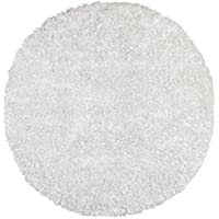 White Shimmer Shag (3x3) Round Rug
