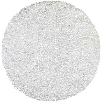 Superior White Shimmer Shag (3u0027x3u0027) Round Rug