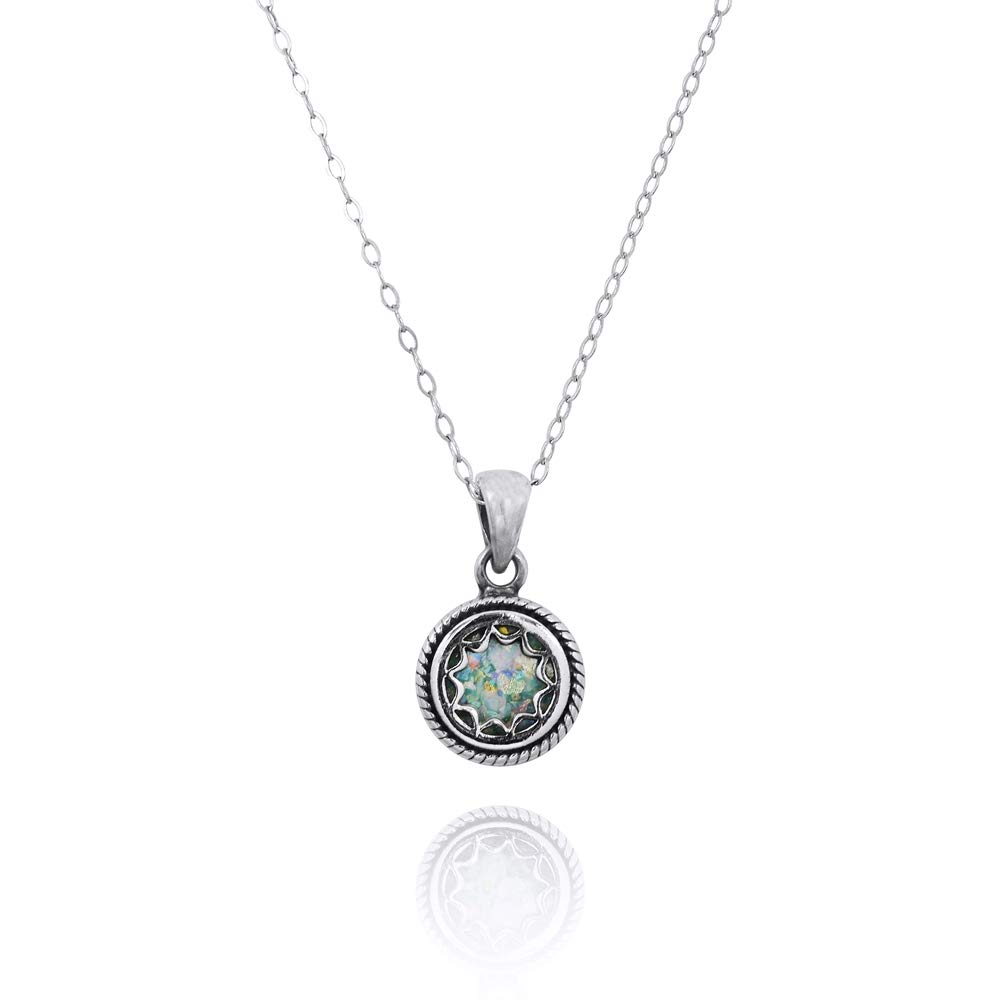 Caratera 925 Sterling Silver Oxidize-Plated Pendant with Oval Shaped Stone