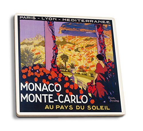Lantern Press Monte Carlo, Monaco - Vintage Travel Advertisement (Set of 4 Ceramic Coasters - Cork-Backed, Absorbent)