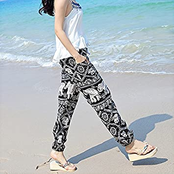 GAOLIM Seda Pantalones Florales Yoga Mujer Pantalones ...