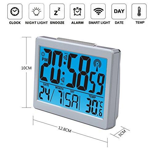 Jumbo Font Atomic Clock Self-Setting with Light LCD & Powered