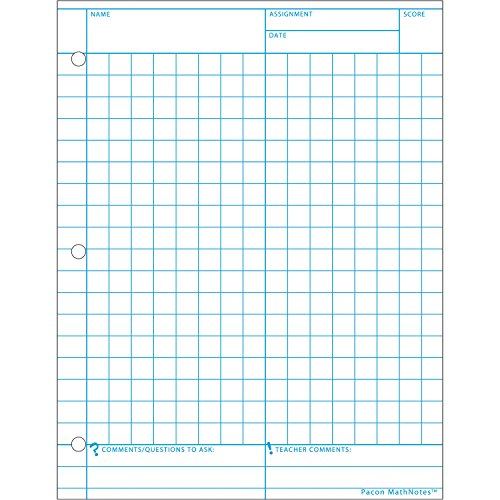 MathNOtes 3230 3-Hole Punched Grid Paper, 8-1/2