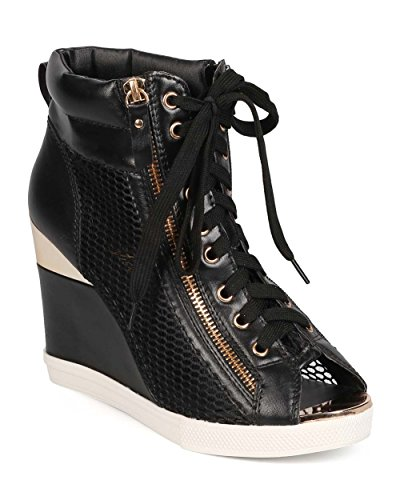 Vigo Fiore EB97 Women Mesh Mix Media Peep Toe Gold-Plated Wedge Sneaker – Black (Size: 8.0)
