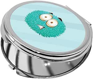 مرآة جيب، شكل دائري، بتصميم رسوم كرتونية - وحش ملون