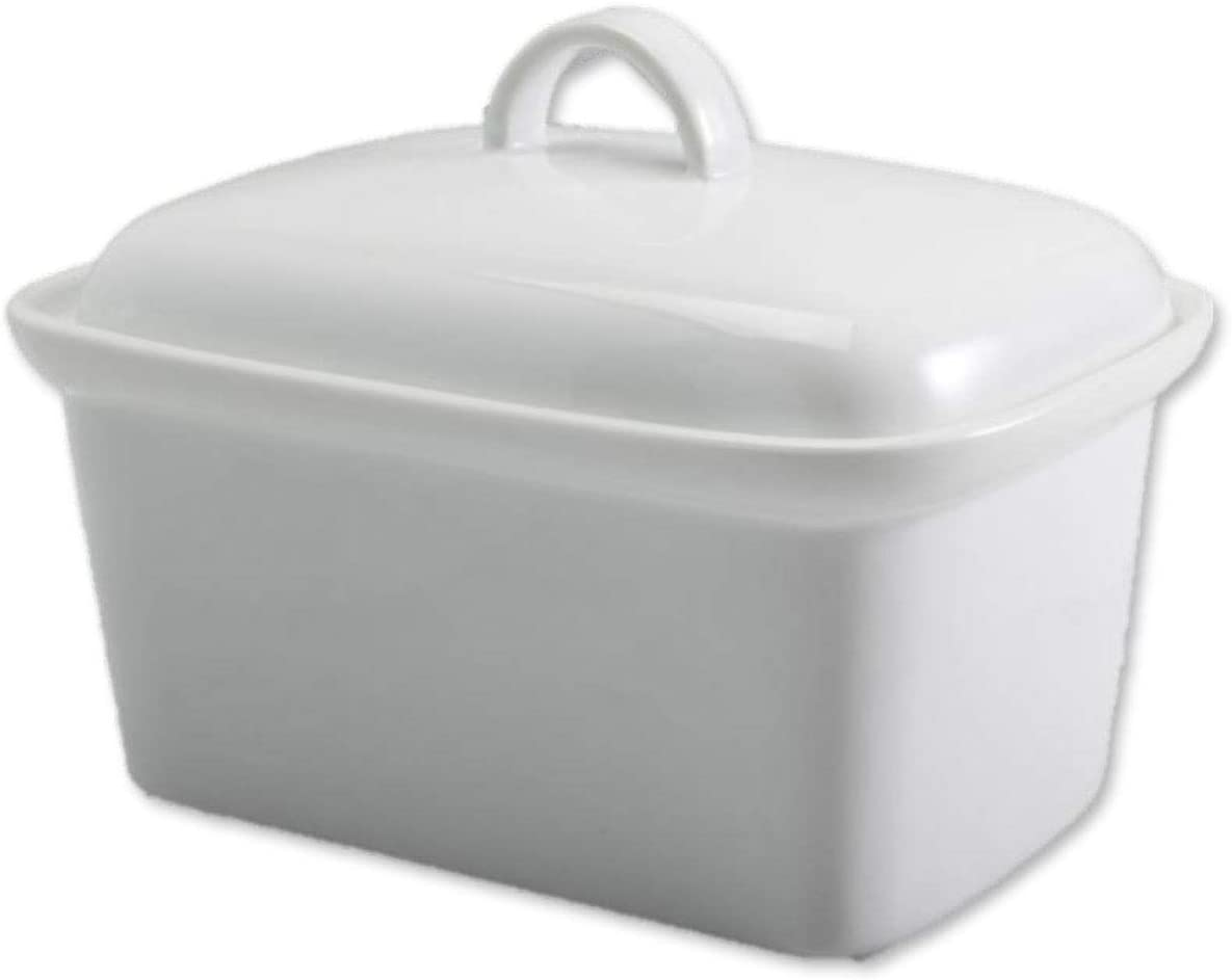 GOURMEX Large Butter holder with Lid | Fits One Pound of Butter | Ideal Butter Keeper for Salted, Unsalted and Flavored Butter in Fridge | Ceramic White Covered Butter Dish is Dishwasher Safe