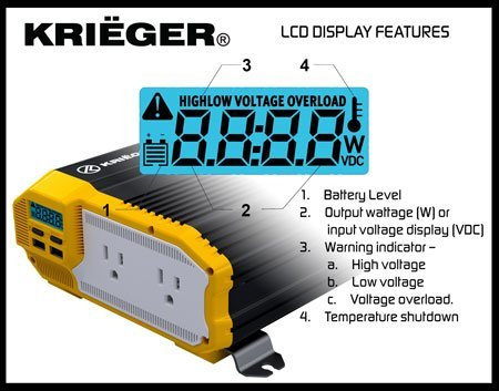 KRIËGER 4000 Watt 12V Power Inverter, Dual 110V AC outlets, Automotive back up power supply for refrigerators, microwaves, coffee makers, Chainsaws, vacuums, power tools. MET approved to UL and CSA by KRIEGER (Image #1)