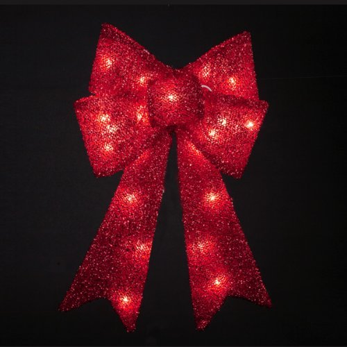 14'' Lighted Red Tinsel Bow Christmas Hanging Window Decoration - Clear Lights by Kurt Adler
