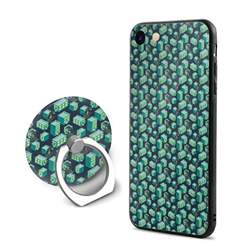 Dino Monster in Night City Green iPhone 8 Case with Grip Ring Holder Multi-Function iPhone 8 Cover with 360¡« Rotating Ring Holder Stand for Magnetic Car Mount Holder Case Compatible -