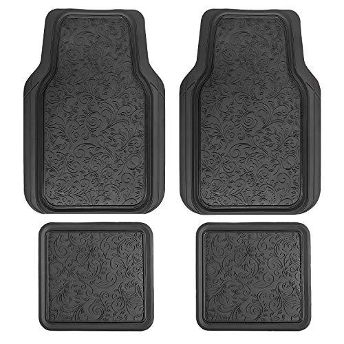 LUNNA FM-341E 4pc Floral Black Rubber Floor Mat (Car Decorative Mats Floor)