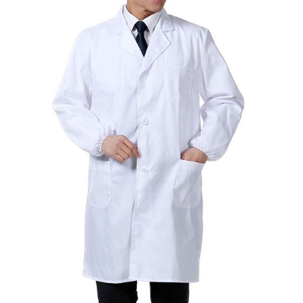 Huahuamini Professional Unisex 41 Inch Scrub Laboratory Doctor Lab Coat (Large, White)