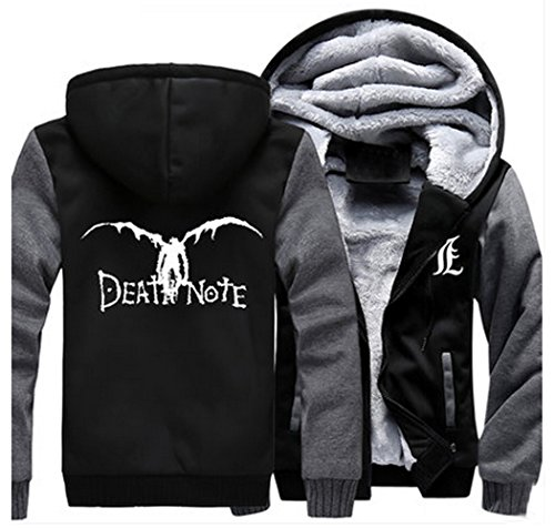 [Relaxcos Death Note Cosplay Black Thick Padded Hoodie Size L] (L Costume Death Note)