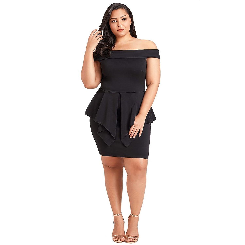 Kleid der Frau Damen Kleid - Solide Boot-Ausschnitt Hohe Taille ...