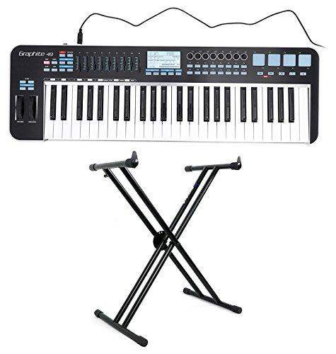 Samson Graphite 49 Key USB MIDI DJ Keyboard Controller w/Fader/Pads + Stand