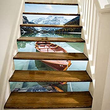 Conjunto De 6 Piezas Pegatinas De Escaleras Snow Mountain Lake Barco Madera Paisaje 6 Escaleras Standpipe Etiqueta Del Piso Diy Pared Escalera Decoración Art Deco 18 * 100cm: Amazon.es: Bricolaje y herramientas