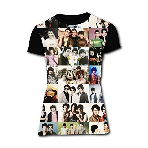 (Fashion Jonas_Begins_Brothers T-Shirt for Women Short Sleeve Girls Shirts Tees Tops Black)