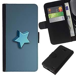 Stuss Case / Funda Carcasa PU de Cuero - Estrella azul - LG OPTIMUS L90