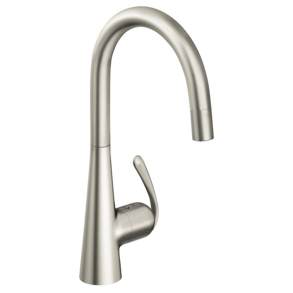 Grohe 32 226 DCE Ladylux3 Pro WaterCare Main Sink Dual Spray Pull-Down Kitchen Faucet, SuperSteel
