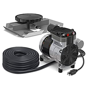 AirPro Pond Aerator Kit by Living Water - Rocking Piston Pond Aeration System for Up to 1 Acre - Minimize Odor, Prevent Fish Kill - Includes 1/4 HP Compressor, 100' Weighted Tubing, Membrane Diffuser