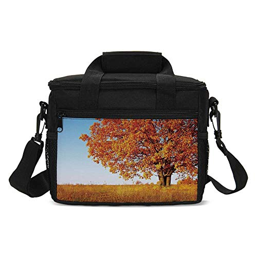 (Fall Decor Lightweight Lunch Bag,Lonely Ancient Oak Tree Grass Bushes Field Serene Rural Scenery for Daily Use,One)
