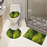 jwchijimwyc Nature 3 Piece Bath mat set Tropical Foliage Pattern with Exotic Leaves Palm Tree Photography Hawaii Greens custom made Fern Green