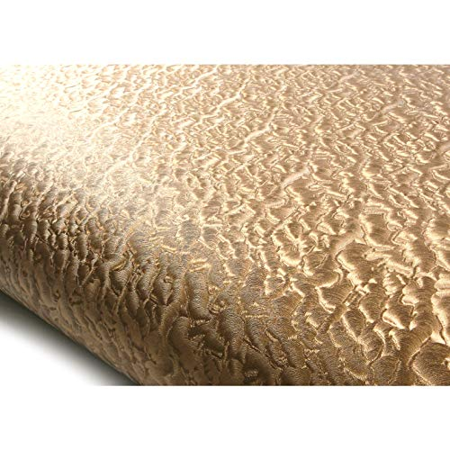 ROSEROSA Peel and Stick Flame Retardation PVC Instant Leather Pattern Decorative Self-Adhesive Film Countertop Backsplash Windstorm Bronze Pearl (MF5147-9 : 2.00 Feet X 6.56 Feet)