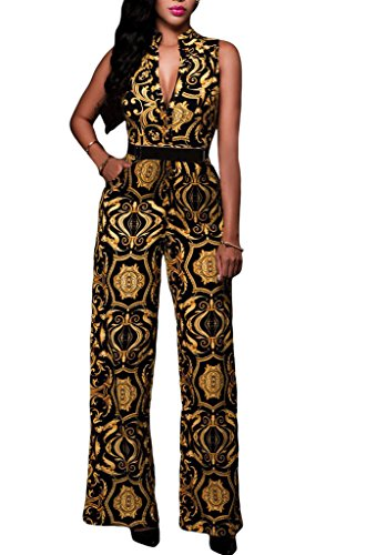 ZKESS-Womens-Sleeveless-Plunge-V-Neck-Belted-Wide-Leg-Jumpsuits-Dress