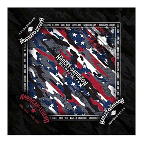 s Patriotic Grunge Bandana - Black, 24 x 24 inch BA29084 (Harley Bandanas)