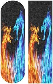 Caikeny Blue Red Fiery Dragons Skateboard Grip Tape Sheet Abstract Animals Scooter Deck Griptape Longboard San