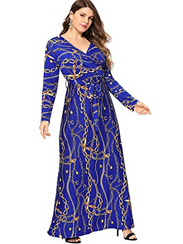(Milumia Plus Size Long Sleeves Empire Waist Wrap V Neck Dress Fit Flare Belted Party Homecoming Navy 0XL)
