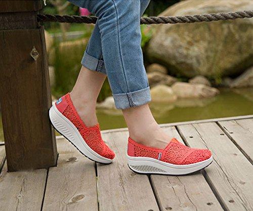 Mocassins Creux De Dentelle GFONE Platform Chaussures Plate Casual forme Marche Femmes Baskets On Slip Orange Course Baskets Fitness Wedge Floral w48qz1E8