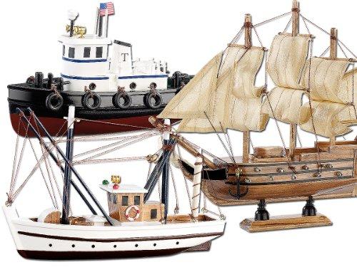 Playtastic Schiff-Bausatz aus Holz, 3er-Set, Kutter, Flagg & Schlepper