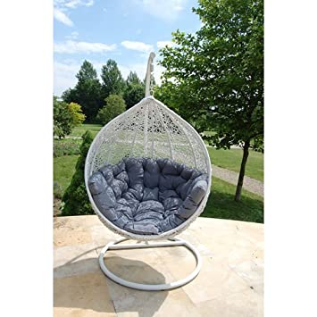 cocoon fauteuil suspendu en blanc et gris combinaison complment idal pour votre jardin terrasse - Fauteuil Suspendu Exterieur