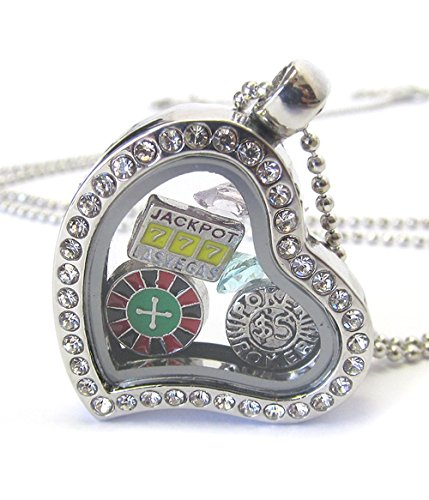 Lola Bella Gifts Crystal Gambling Casino Floating Charms Locket Necklace w/Gift -