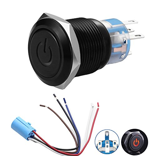 Quentacy 19mm Latching Push Button Switch 12V ()