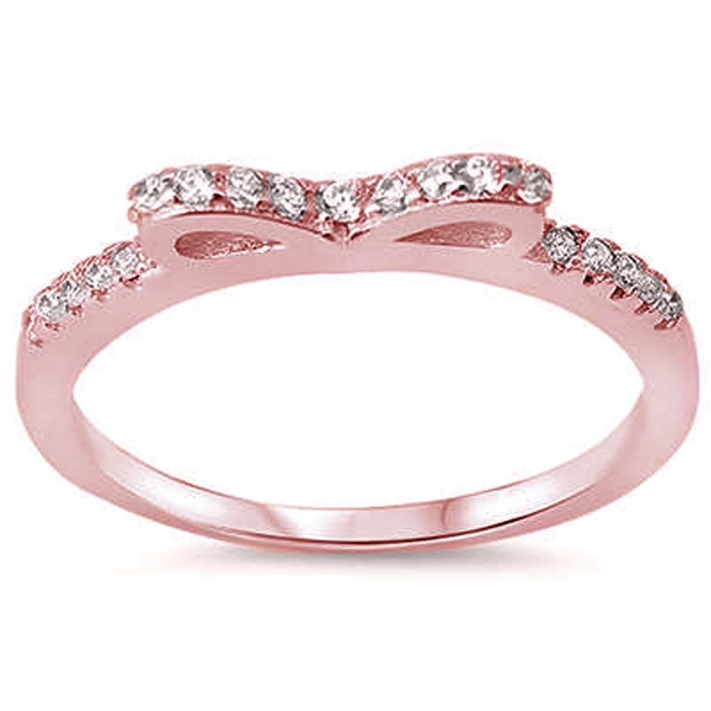 Brightt Rose Gold Plated Cubic Zirconia Bow Tie 925 Sterling Silver Ring Sizes 410amazon: Pink Bow Wedding Ring At Reisefeber.org