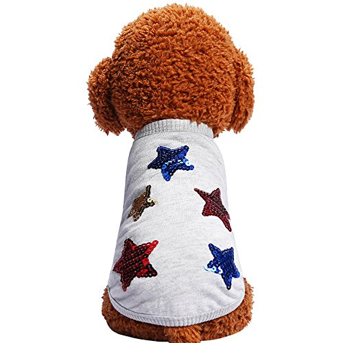 Shirt Dog Marine (WEUIE Big Promotion! Puppy Clothes Spring And Summer Cute Dog Clothes Pet Five Stars T-shirt Costumes (S, Gray))