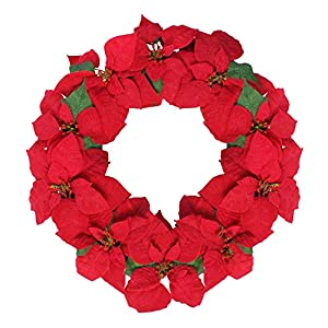 Northlight 24″ Red Artificial Poinsettia Flower Christmas Wreath – Unlit