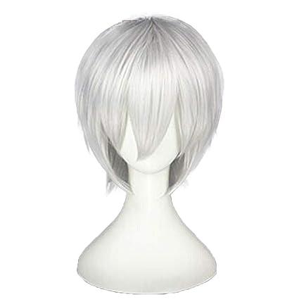 Pelucas-Anime Cosplay Peluca Tokyo Ghoul SEED Jin MU Plata Blanco 28Cm Peluca Corta Incluyendo