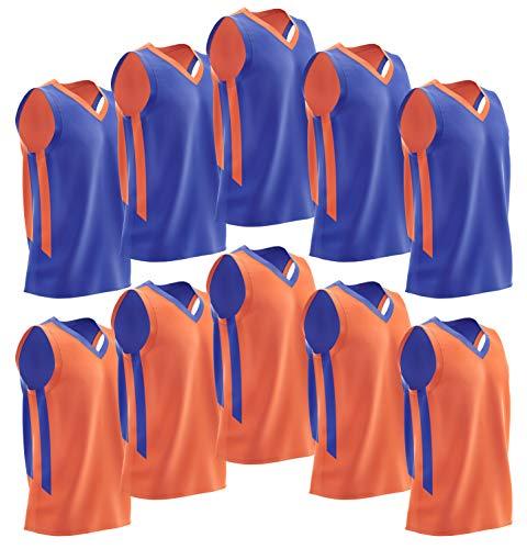 Liberty Imports 10 Pack - Reversible Men's Mesh Performance Athletic Basketball Jerseys - Adult Team Sports Bulk (Blue/Orange) (Best High School Basketball Uniforms)