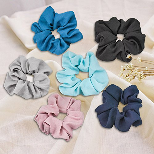 EAONE 16 Pieces Chiffon Hair Scrunchies Flower Hair Scrunchies Ties Hair Bobbles Ponytail Holder with Pouch Bag for Women Girls, 16 Colors by EAONE (Image #3)