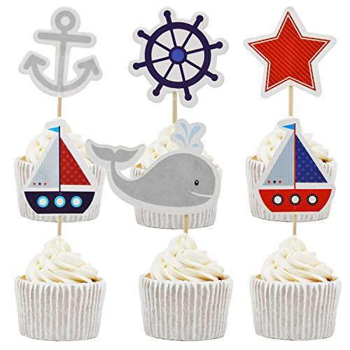 Betop House 24pcs Sea Sailor Themed Birthday Party Baby Shower Decorating Cake and Cupcake Toppers ()